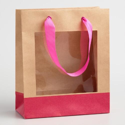 Small Pink Window Gift Bags Set of 2
