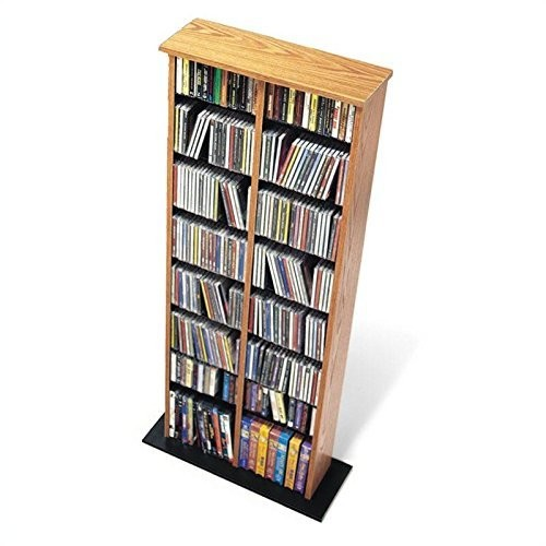 Prepac Double Multimedia Tower Storage Cabinet, Oak and Black [Oak and Black, Double Multimedia Tower]