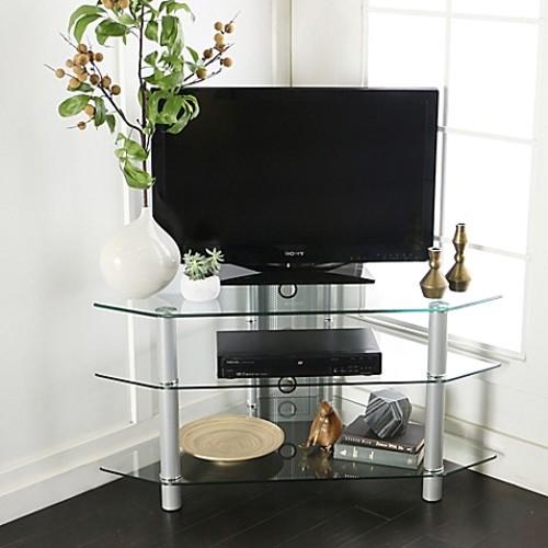 Walker Edison 44-Inch Corner TV Console in Silver