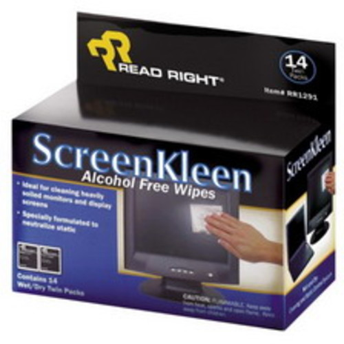 Read Right ScreenKleen Cleaning Wipe, 14/Pack