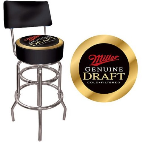 Trademark Global Miller Genuine Draft Padded Bar Stool with Back