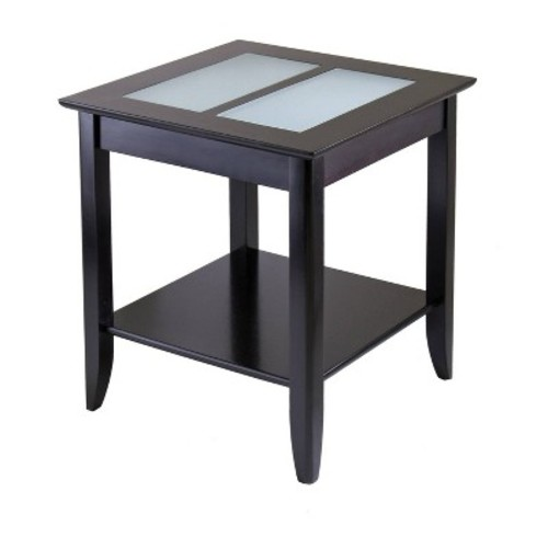 Syrah End Table with Frosted Glass - Dark Espresso - Winsome
