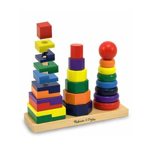 Melissa & Doug Geometric Stacker - Wooden Educational Toy [Standard]