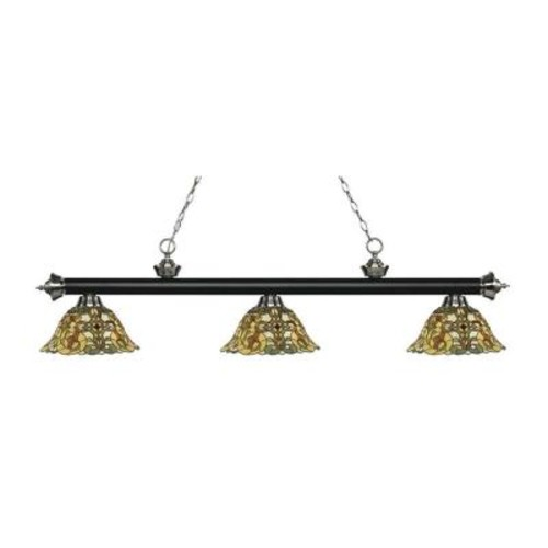 Filament Design Everlynne 3-Light Matte Black and Brushed Nickel Island Light with Tiffany Glass Shades