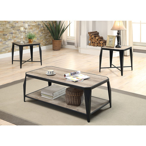 lake Antique Light Oak/Black MDF/Metal Coffee/End Table 3-piece Set - Antique Light Oak & Black, 48