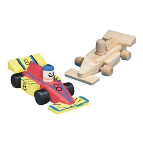 S&S Unfinished Mini Wood Race Car, 12/Pack