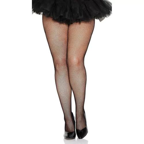 Plus Size Classic Seamless Fishnet Pantyhose, Plus Size Fishnets - Black - Queen