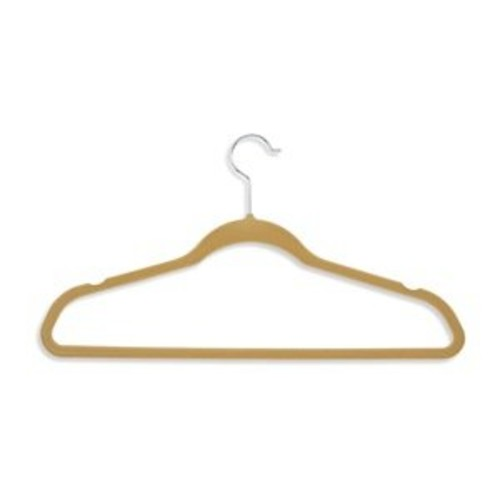 Honey-Can-Do HNG-01796 Thin Non-Slip Velvet Hangers, Tan, 50-Pack [Tan, Velvet Suit Hangers: 50-Pack]