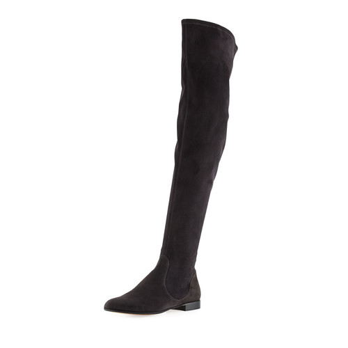 GIANVITO ROSSI Flat Stretch-Suede Over-The-Knee Boot