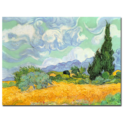 Trademark Global Vincent van Gogh 'Wheatfield with Cypresses 1889' 35
