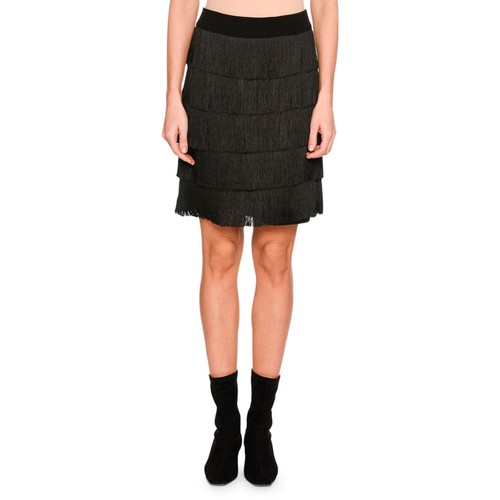 STELLA MCCARTNEY Tiered Fringe Mini Skirt, Black