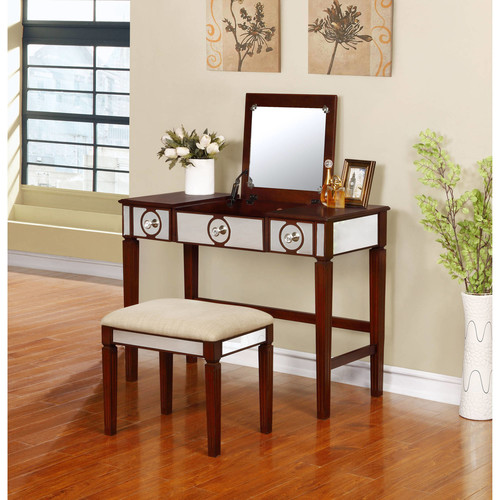 Linon Madison Vanity Set including Mirror and Stool, Walnut
