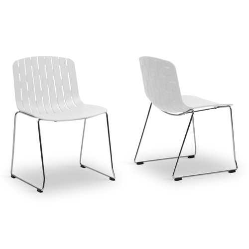 Baxton Studio Ximena White Plastic Modern Dining Chair Set of 2