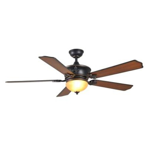 Home Decorators Collection Royal Breeze 60 in. Indoor Tarnished Bronze Ceiling Fan with Light Kit and Remote Control