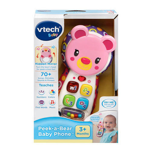 VTech Peek-a-Bear Baby Phone - Pink