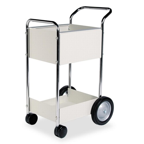 Fellowes 40924 Steel Mail Cart, 75-Folder Capacity, 20w x 25-1/2d x 39h, Dove Gray