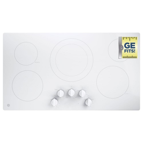 GE 36 in. Control Electric Cooktop Built-in Knob Control with 5 Elements in White