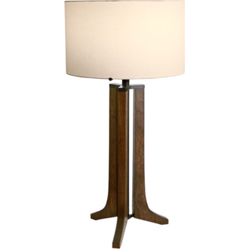 Forma 1-Light LED Table Lamp [Wood Finish : Dark Stained Walnut; Metal Finish : Brushed Aluminum; Shade Finish : Black]