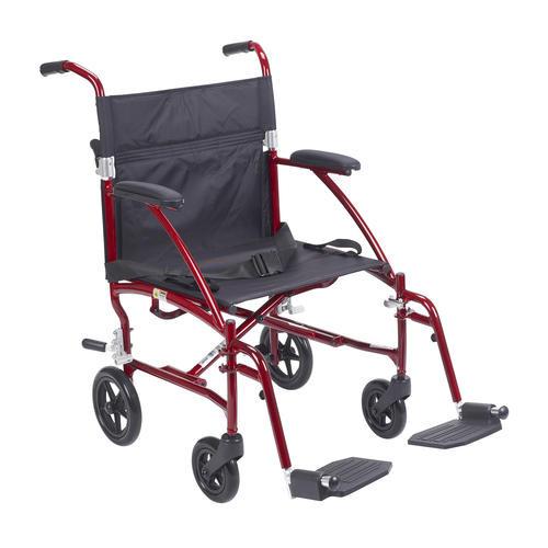 Drive Medical Fly Lite Ultra Lightweight Burgundy Transport Wheelchair