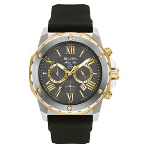 Bulova Marine Star Men's 44mm Grey Chronograph Watch in Stainless Steel w/Black Silicone Strap