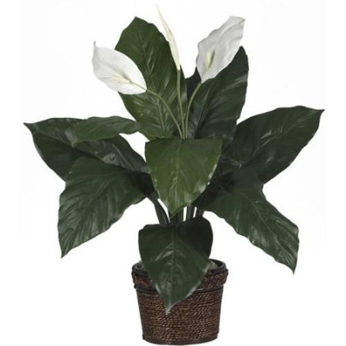 Nearly Natural Silk Spathyfillum Desk Top Plant in Pot