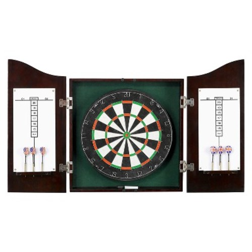 Centerpoint Solid Wood Dartboard & Cabinet Set - Dark Cherry Finish