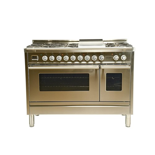 Hallman 48 in. 5.0 cu. ft. Double Oven Dual Fuel Italian Range with True Convection 7-Burners and Griddle in Stainless Steel