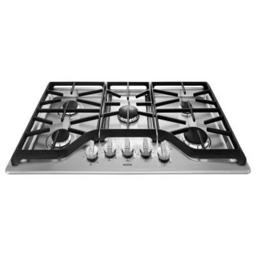 Maytag 36 in. Gas Cooktop in Stainless Steel with 5 Burners including 18000-BTU Power Simmer Dual Stacked Burner