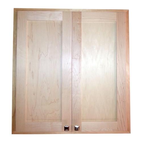 Natural Pine Wood/Glass Recessed Craftsman Double-door 36-inch Medicine Storage Cabinet