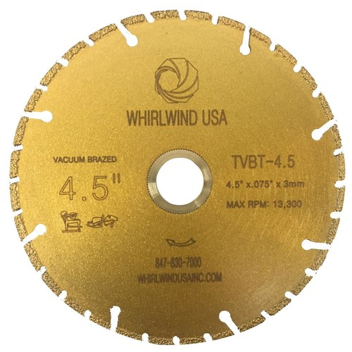 Whirlwind USA 4.5 in. 32-Teeth Segmented Diamond Blade for Dry or Wet Cutting Metal and Plastic Materials