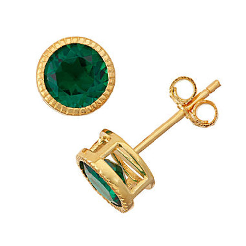 Lab-Created Emerald 14K Gold Over Silver Stud Earrings - JCPenney