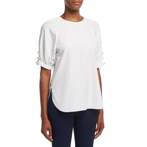 3.1 PHILLIP LIM Short-Sleeve Poplin W/Pearly & Chain Lacing, White