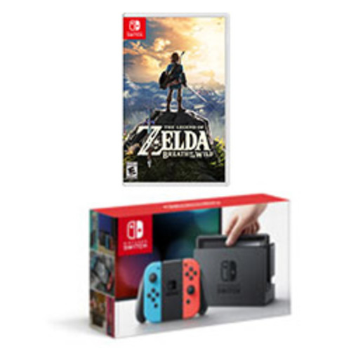 Nintendo Switch Console with Neon Blue and Neon Red Joy-Con Zelda Bundle