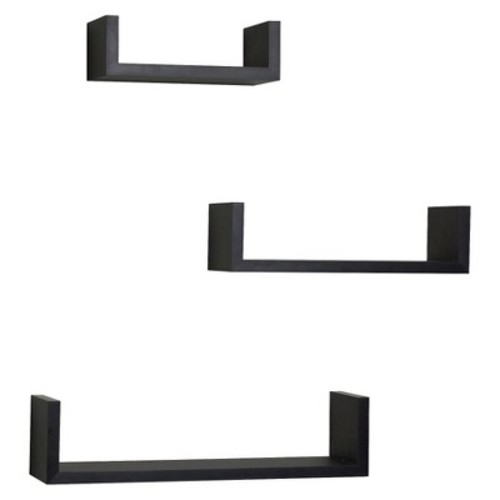 Danya B Floating 'U' Laminated Wall Shelving Set - Black