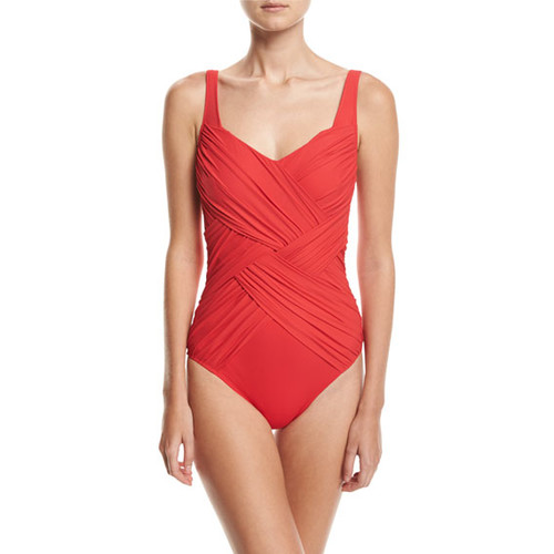 tice Shaped Square-Neck One-Piece Swimsuit