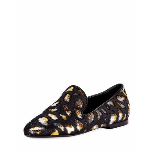 SAINT LAURENT Metallic Twill Slip-On Loafer, Black
