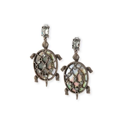 Shell Turtle Earrings, Silvertone