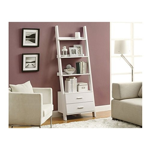 Monarch Specialties Bookcase Ladder with 2-Storage Drawers, 69-Inch, White