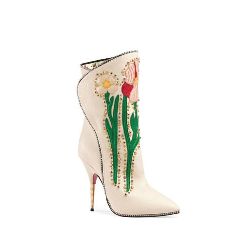 GUCCI Women'S Fosca Crystal Embroidered Booties