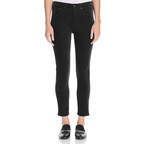 Skinny Ankle Jeans in Black Velvet