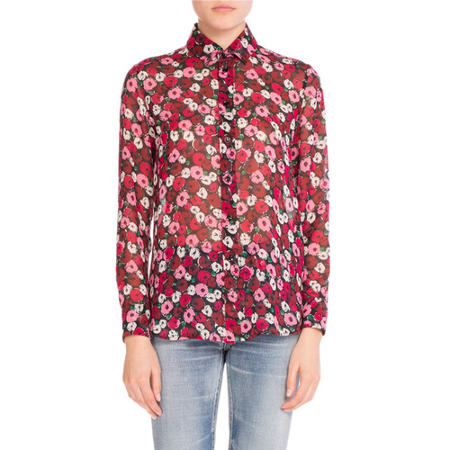 SAINT LAURENT Poppy-Print Silk Blouse, Red