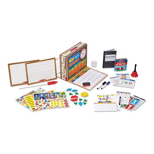 Melissa & Doug School Time! Classroom Play Set Game - Be Teacher or Student