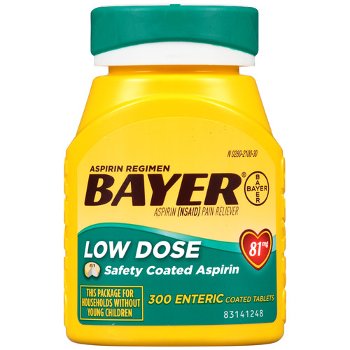Bayer Aspirin, Low Dose, 81 mg, Enteric Coated Tablets, 300 tablets