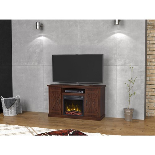 Classic Flame Cottonwood 47.50 in. Media Console Electric Fireplace in Saw Cut Espresso