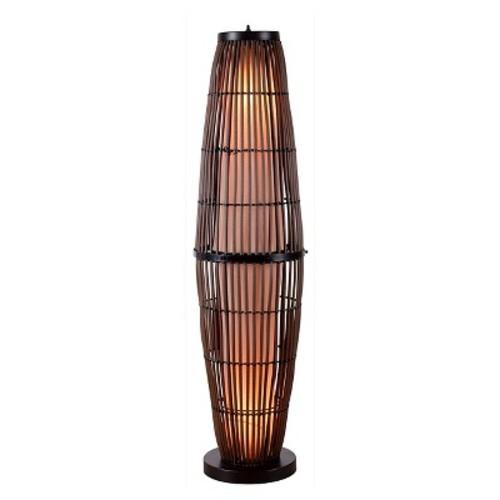 Kenroy Home 32248RAT Biscayne Outdoor Floor Lamp, Rattan Finish with Bronze Accents [Tan]