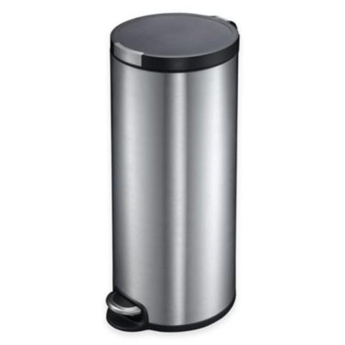EKO Artistic Stainless Steel Round 30-Liter Soft-Close Step Trash Can