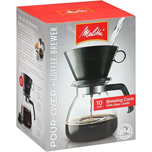 Melitta Cone Filter Coffeemaker 10 Cup, 1-Count [Pack of 1, 10 Cup Cone with Glass Carafe]