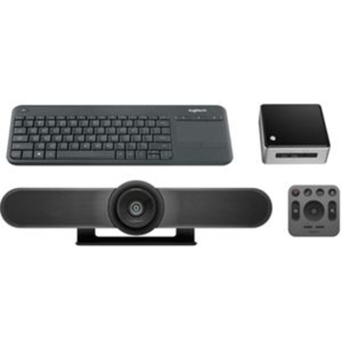 Logitech Video Conferencing Kit - Integrated, Remote Control, SuperSpeed USB 3.0, Plug and Play, Bluetooth, Digital Video Camera, with Intel NUC - MEETUPNUC KT3