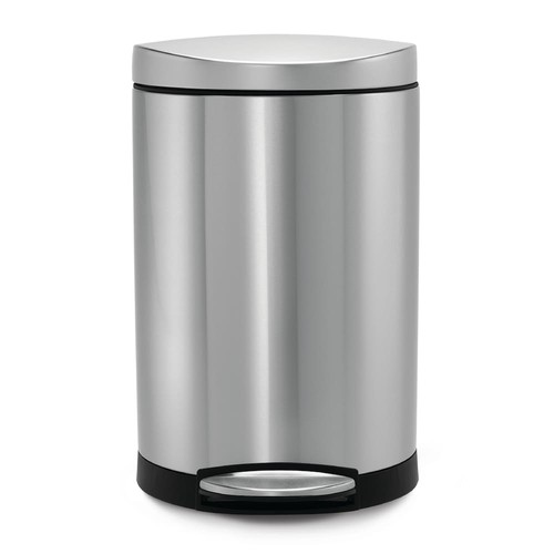 simplehuman 10-Liter Fingerprint-Proof Brushed Stainless Steel Semi-Round Step-On Trash Can