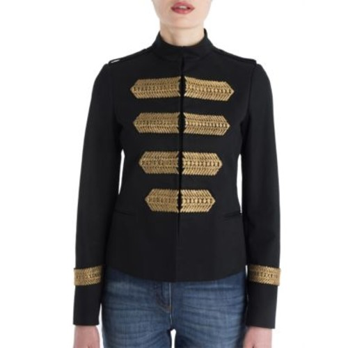 VALENTINO Embroidered Cotton Military Jacket